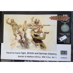 Corps-à-corps, 4 soldats Britanniques et Allemands, Afrique du nord, 1941-1943