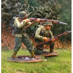 2 soldats d'infanterie Américains de la 2e division, Normandie, 1944