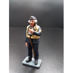 Marin Allemand au micro d'un haut-parleur, Kriegsmarine WW2