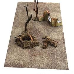 Décors-dioramas, tapis paysage sol terre et boue