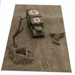 Décors-dioramas, tapis paysage sol terre, boue, traces roues, chenilles