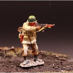 Soldat d'infanterie Américain, tirant, au combat, Ardennes-Bastogne 1944