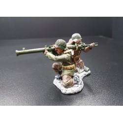 tireur au bazooka et chargeur, infanterie Américaine, Ardennes-Bastogne 1944-1945
