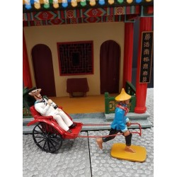 HONG KONG 1897, rickshaw Chinois avec un marin passager