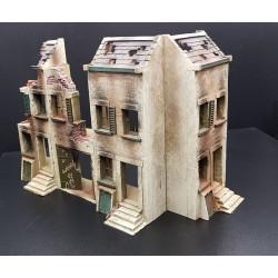 Décor-diorama, immeuble endommagé, 4 façades en angle ou rectilignes, garage