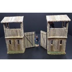 Décors-dioramas, porte d'un fortin façon bois, 18-19e siècles, USA