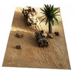 Décors-dioramas, Tapis-décor, désert de sable, traces de roues, chenilles