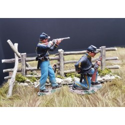 """2 soldats d'infanterie Américains, Union, """"nordistes""""+barrière 1861-1865"""