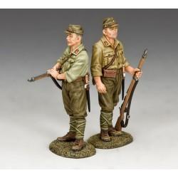 2 soldats d'infanterie Japonais, garde aérodromes, Pacifique 1941-1945
