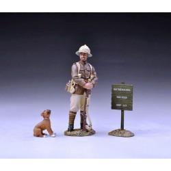 Soldat d'infanterie Britannique à la garde, petit chiot, panneau, WW1