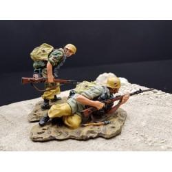 2 pionniers d'assaut parachutistes Allemands - Fallschirmjägers, Afrika Korps