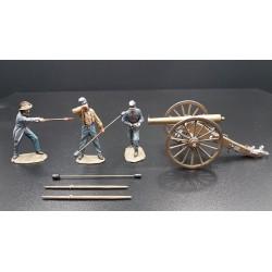 3 artilleurs confédérés sudistes et leur canon, 1861-1865