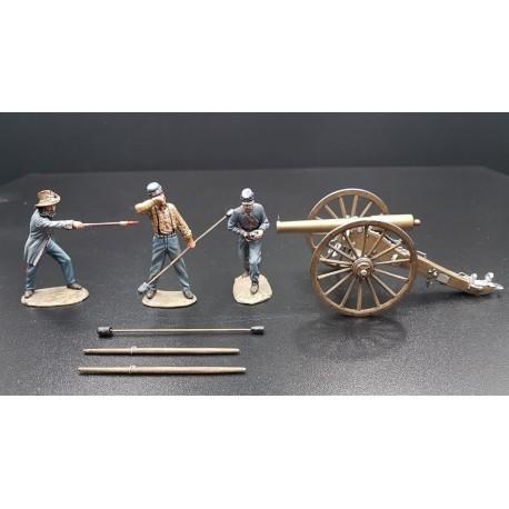 Ensemble d'artillerie confédéré, 3 artilleurs et leur canon, 1861-1865