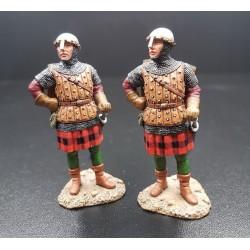 2 hommes d'armes Croisé Ecossais, période des croisades, moyen-âge