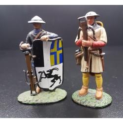 2 arbalétriers, Suisse et Génois, moyen-âge, XIIIe siècle