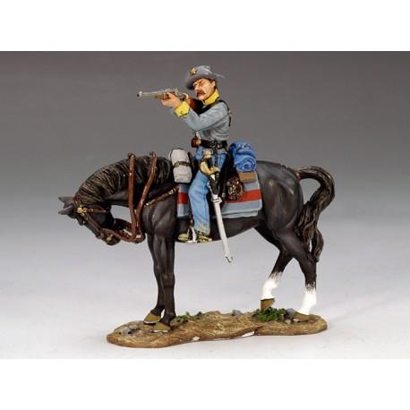 "Cavalier Américain Confédéré, ""sudiste"", tirant à la carabine"