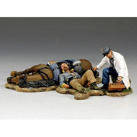 Médecin militaire sudiste et un cavalier blessé au combat, guerre de sécession
