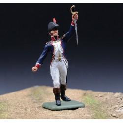 Officier d'infanterie de la ligne Français saluant la victoire