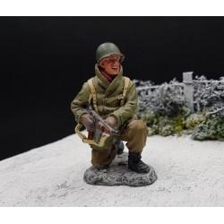 Soldat d'infanterie Américain, en attente, Ardennes-Bastogne 1944-1945