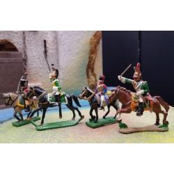 LOT de 4 cavaliers 1er empire Français 15 et 25 mm alliage métal