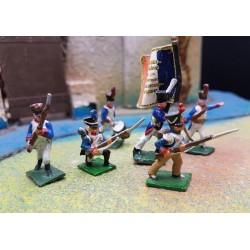 LOT 6 fusiliers d'infanterie Français, 25mm métal, 1er empire 1804-1815