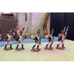 LOT 5 fusiliers d'infanterie Français, 25mm métal, 1er empire 1804-1815