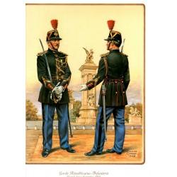 Planche uniformologique, garde républicain Français, tenue de service 1985
