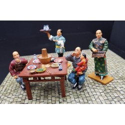 Ensemble le restaurant de rue Chinois, Vieux Hong-Kong, fin XIXe siècle