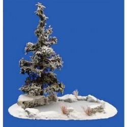Décors, dioramas, mare gelée, sapin, rochers et plantes et hiver