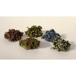 Décors-dioramas, ensemble de 4 petits arbustes en fleurs