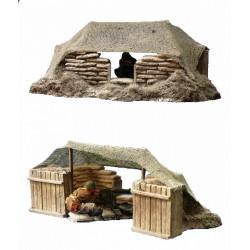 Décors-dioramas, partie de tranchée en hiver, poste de tir mitrailleuse, WW1-WW2