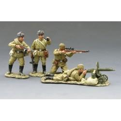 Chute de BERLIN 1945, 4 soldats soviétiques dont mitrailleuse MAXIM PM1910