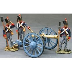 3 artilleurs à pied Mexicains et leur canon, ALAMO 1836