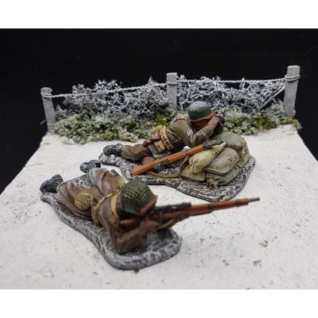Equipe tireur d'élite et sous officier d'infanterie Américains, Ardennes 1944-1945