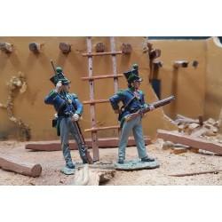 2 chasseurs d'infanterie légère Mexicains à l'assaut de Fort ALAMO TEXAS 1836