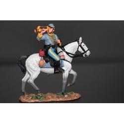 """Clairon de la cavalerie confédérée Américaine, """"sudiste"""", à cheval"""
