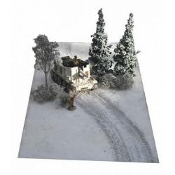 Décors-dioramas, tapis-paysage, traces de chenilles sur la neige