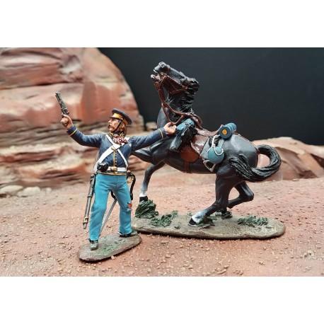 Dragon Nord-Américain à pied, 2e régiment, au combat, guerres indiennes