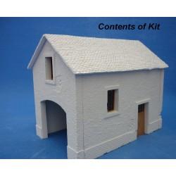 Décors-dioramas, Grange avec appentis, cour de ferme en KIT