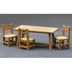 Décors-dioramas, ensemble de 3 chaises et une table