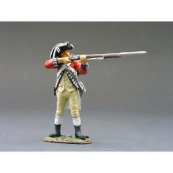 """Fusilier d'infanterie Britannique, """"read coats"""", 1776, tirant au mousquet"""