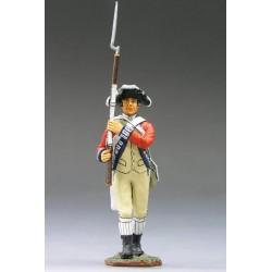 """Fusilier d'infanterie Britannique, en marche, """"read coats"""", 1776"""