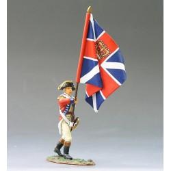 """Porte-drapeau d'infanterie Britannique, en marche, """"read coats"""", 1776"""