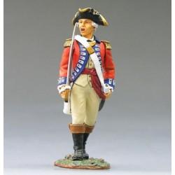 """Officier d'infanterie Britannique, en marche, """"read coats"""", 1776"""