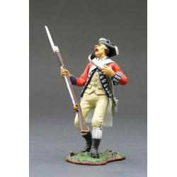 """Fusilier d'infanterie Britannique, blessé au combat, """"read coats"""", 1776"""