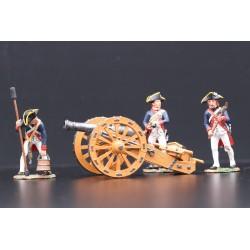 AR068 - 3 artilleurs Américains et leur canon, 1776 guerre indépendance USA