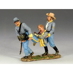 """2 cavaliers confédérés, """"sudistes"""", portant leur officier blessé"""
