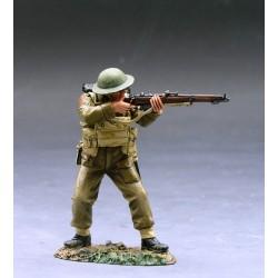 Soldat d'infanterie Britannique tirant au fusil, bataille de France, 1940