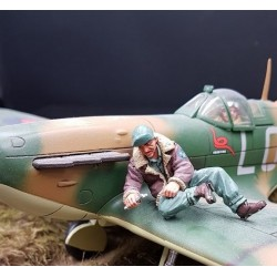 Mécanicien au sol Américain, maintenance avions, 1941-1945, USAF, assis
