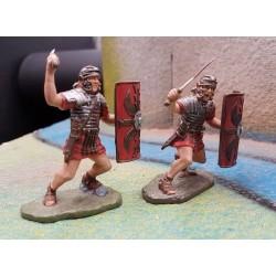 2 légionnaires romains, au combat, avec glaives et boucliers, SPQR ROME